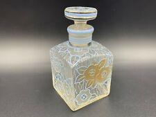 More details for art deco bohemian scent perfume bottle w/ stopper hand painted gold/blue enamel