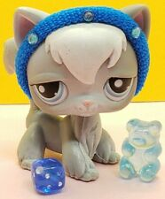 New Listing🎀Authentic Littlest Pet Shop #345 Angora Cat Lps Gray White Kitty+ Accessories