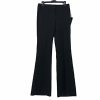 Express Womens size 4 Solid Black Mid Rise Flare Leg Flat Front Dress Pants NEW