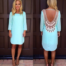 Women Lace Chiffon Summer Casual Sleeveless Party Evening Cocktail Dress Blue M