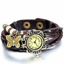Vintage Butterfly Bracelet Braided Leather Rope Strap Analog Quartz Wrist Watch