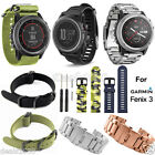 [ For Garmin Fenix 3 /HR ] Silicone Stainless Steel Nylon Strap Wrist Watch Band