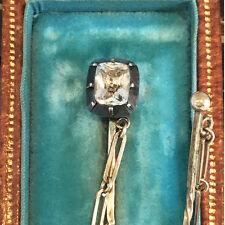 Victorian 9ct, 9k, 375 Gold & Silver Paste stick pin / cloak pin in Antique box