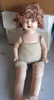 """Vintage 1930s Composition Cloth Girl Character Doll 21"""" Tall"""