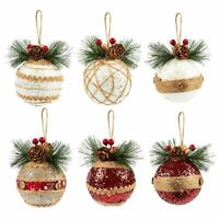 Juvale 6-Pack Christmas Tree Decorations Christmas Decoration Rustic Ornaments