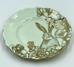 "Set Of 4 - 222 FIFTH ""GARDEN PLAYTIME LIGHT GREEN & GOLD"" BUNNY Salad Plate 8.5"""