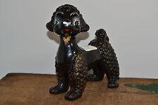 """Vintage Black Poodle 6.50"""" inches tall Pot Plant StyroFoam Flower Shop Dog"""