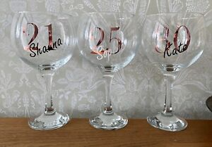 Personalised Age Gin Glass With Name Birthday Gift 18 21 30 40 50 60