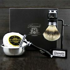 Premium Classic Men's Set da barba FT De Safety & Pinne BIANCHE pennello regalo Kit F/LUI