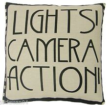 "FILLED LIGHTS CAMERA ACTION FILM REEL MOVIE BLACK COTTON BLEND CUSHION 18""- 45CM"