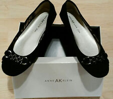 NEW AK Anne Klein Briona Flats  Chain & Kilty detail  iFlexSuede  Black 9M