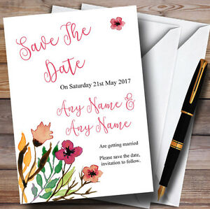 Handwriting Font Watercolour Pink Personalised Wedding Save The Date Cards