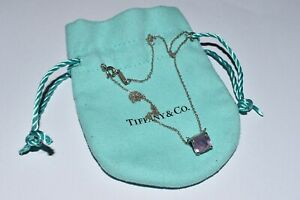 """Tiffany & Co. Silver Sparklers 1.5 ct Amethyst Gemstone 16"""" Necklace Chain"""