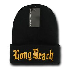 "Black & Gold Long Beach LBC Embroidery 12"" Long Cuffed Vintage Beanie Beanies"