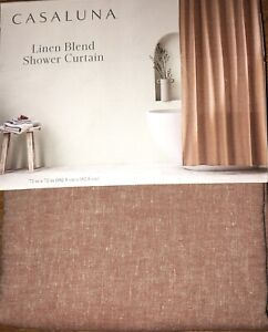"""CASALUNA Linen Blend Shower Curtain 72"""" X 72"""" Maroon Brown Color Chambray ~ NEW"""