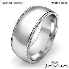 Plain Men Wedding Band Dome Milgrain High Polish Ring 8mm Platinum 15.9gm 8-8.75