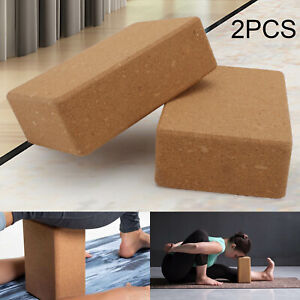 2 x Cork Yoga Blocks/Bricks For Alignment - Natural & Eco-Friendly - Free UK New
