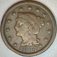 1847 US Copper Large Cent Braided Hair Penny 1c US Coin VG One Cent K12