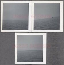 Lot of 3 Unusual Vintage Photos Distant Ships in Water & Sky Horizon View 664007