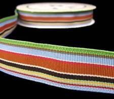 25 Yds HTF Fancy Pants Rough and Tough Green Blue Brown Stripe Grosgrain Ribbon