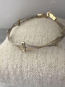"""14K Two Tone Gold 4.2gr  Wire Bracelet 7"""" Long Scrap or Not"""