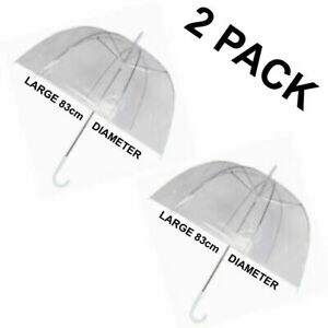 2 x Clear Dome See Through Umbrella Wedding Prop Walking Rain Brolly Windproof
