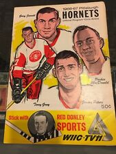 1966-67 PITTSBURGH HORNETS VS. PROVIDENCE REDS OFFICIAL GAME PROGRAM EX/MT
