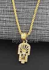 Fatimas Hand Kette Anhänger Halskette Fatima Hamza 18 Karat Gold GP Zirkonia