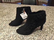 Brand New With Tag Unisa Black Suede Peep Toe Booties, Size 6, Super Cute!
