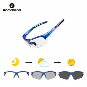 ROCKBROS Bike PC Photochromatic Transparent Glasses UV400 Blue Frame Goggles