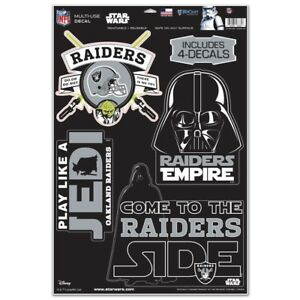 OAKLAND RAIDERS STAR WARS YODA & VADER LAPTOP MULTI USE REUSABLE DECALS NEW