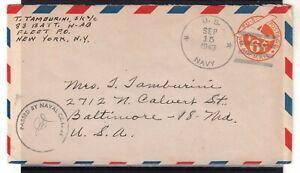 USA = WW2 1943 U.S. NAVY 6c Air Mail cover. Naval Censor cachet. . (Jy20qj)