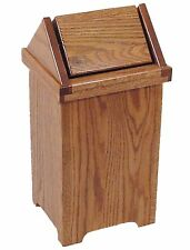 Regular Size Oak Flip Top Trash / Recycling Bin -  Amish Made in USA