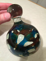 Vintage Hand-Signed MDINA Maltese Art-Glass LARGE PAPERWEIGHT DISPLAY Blue Brown