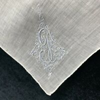 Vintage Embroidered J Initial White Linen Handkerchief Monogram Bridal Wedding