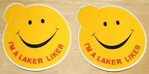 """2 x Laker Airways (UK) """"I'm a Laker Liker"""" Smiley Face Airline Stickers"""