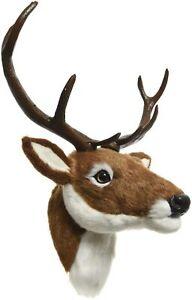 Kaemingk Xmas 60cm Artificial Fur Large Brown Reindeer Head Wall Ornament