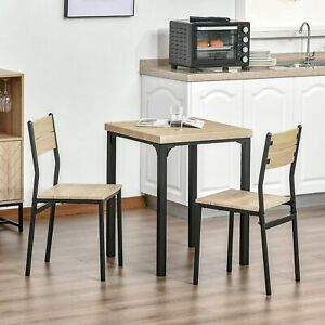 Small Dining Table 2 Chairs Set Square Breakfast Space Saving Compact Seater NEW