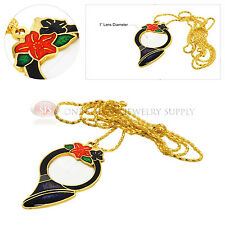 5x Decorative Gold Horn Necklace Magnifier Glass Lens Magnifying Jewelry Accent