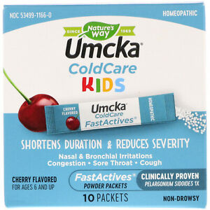 New Nature's Way Umcka ColdCare Kids FastActives 10 Packets Exp 01/2021 Cherry