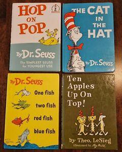 4 hardcover beginner books by Dr Seuss & Theo LeSieg