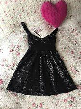 Topshop Must See ❤ Black Sequin Skater Dress Sweetheart 12 Party Christmas