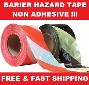 500M BARRIER HAZARD WARNING NON ADHESIVE BLACK&YELLOW RED&WHITE UTILITY TAPE