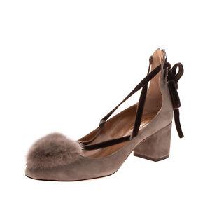 RRP €630 AQUAZZURA IN LOVE PUMP 50 Leather Court Shoes EU 40 UK 7 US 10 Mink Fur