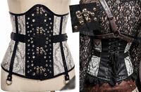 Corset serre-taille bustier gothique lolita steampunk baroque dentelle cuir clou