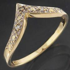 Decorative Solid 9k Yellow Gold 3 DIAMOND ETERNITY ILLUSION VEE RING Sz N1/2
