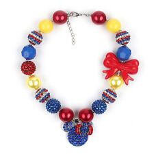 Minnie Pendant with Red Bow Chunky Beaded Chunky Bubblegum Necklace for Girls