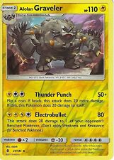 POKEMON SUN & MOON GUARDIANS RISING CARD: ALOLAN GRAVELER -41/145 - REVERSE HOLO