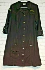 Vintage 90s Grunge Military Inspired Black Tunic Dress Patch Details Serious