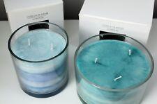 Blue / Green Hazy Stripe Scented Candle Pot (Large or Medium) by Gisela Graham